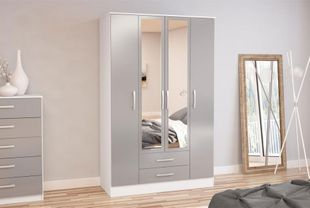 Birlea Lynx 4 Door Combi Wardrobe with Mirror