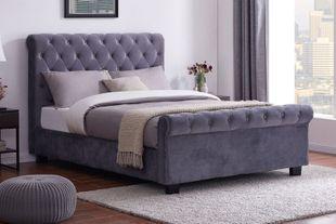 Oregon Plush Grey Velvet Sleigh Bed