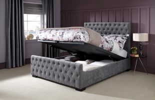 Serene Lillian Steel Grey Fabric Ottoman Bed Frame